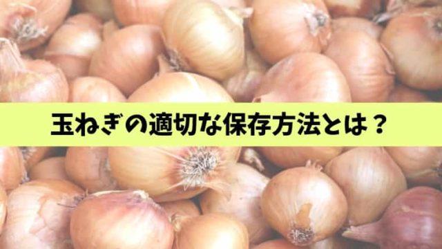 玉ねぎの適切な保存方法とは?